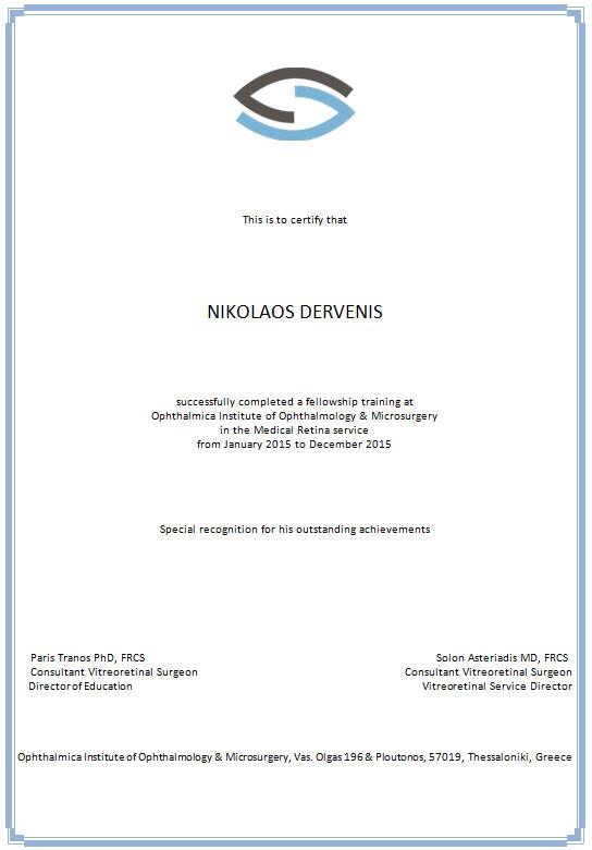 nikolaos Dervenis fellowship certificate